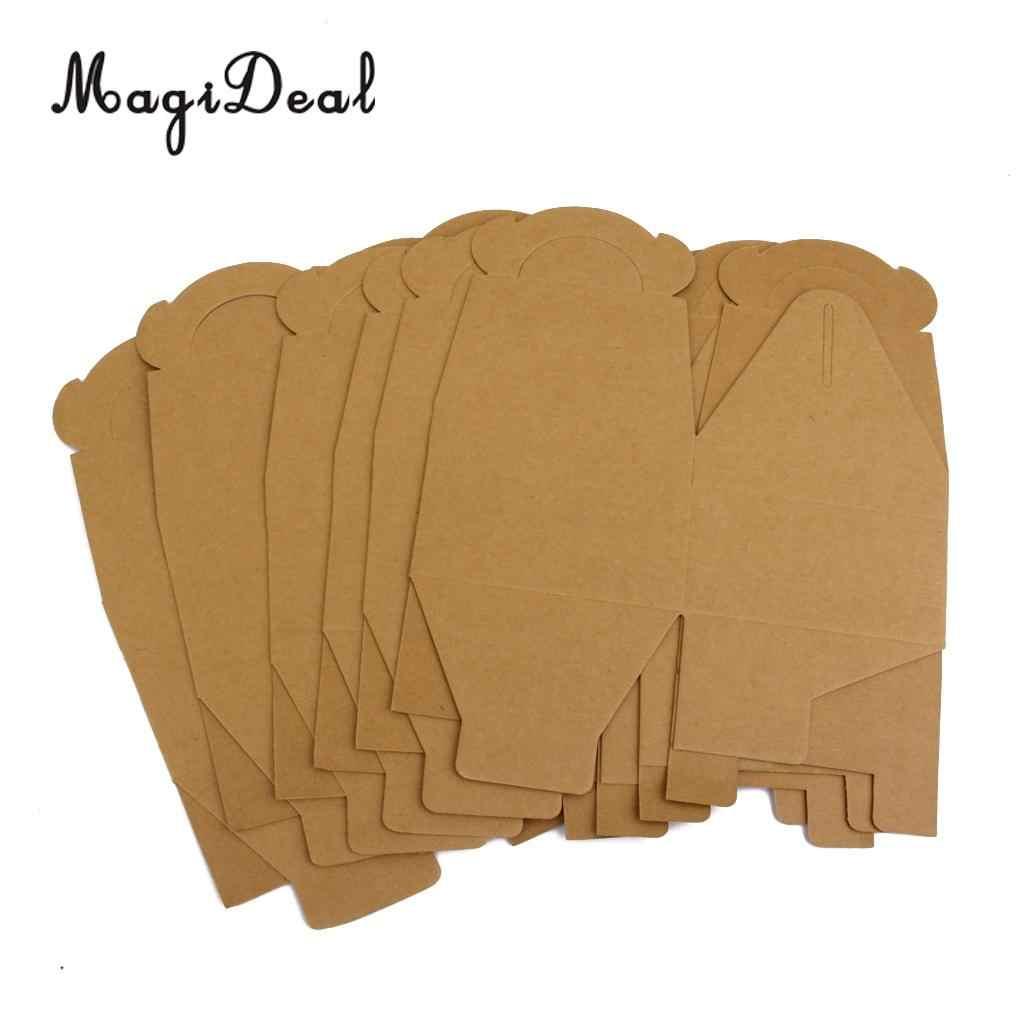 MagiDeal 5 ชิ้น/ล็อตสีน้ำตาลกระดาษคราฟท์ PARTY Loot ของขวัญ Goody Cupcake มัฟฟินกล่องขนมของขวัญบรรจุ
