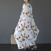 Embroidery Plus Size Women Maxi Dress Summer 2017 Loose O Neck 3 4 Sleeve Long Maxi