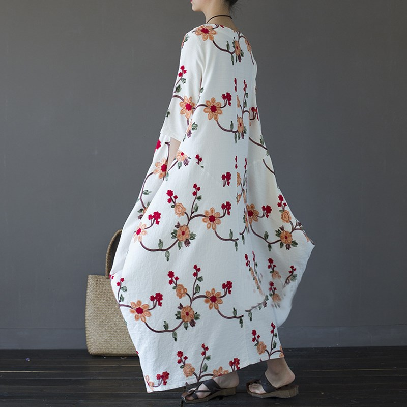 Embroidery Plus Size Women Maxi Dress Summer 2017 Loose O-neck 3/4 Sleeve Long Maxi Dresses Casual Holiday Party Solid Vestidos