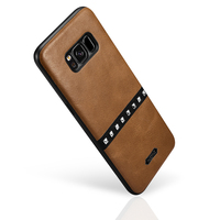 Original XOOMZ For Samsung Galaxy S8 Phone Case Vintage PU Leather Gold Rivets Back Case Business