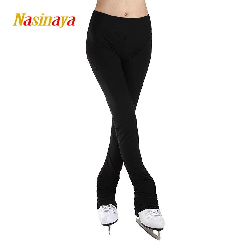 Personnalisé Glace De Patinage pantalon long Costume Figure De Patinage Pantalon Chaud Polaire Patineuse Tissu Enfant Adulte Fille Pleine Noir solide couleur