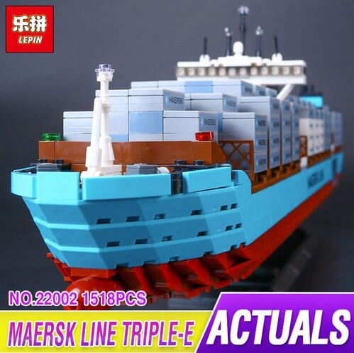Lepin 22002 1518Pcs Technic Series The Maersk Cargo Container Ship Set Educational Building Blocks Bricks Model Toys Gift 10241 lepin 02020 965pcs city series the new police station set children educational building blocks bricks toys model for gift 60141
