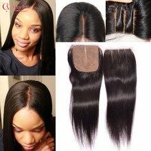 Annabelle Hair Brazilian Silk Base Closure 4*4 Brazilian Virgin Hair Lace Closure Straight Middle Free Part Human Hair Closure