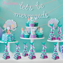 PATIMATE Mermaid Birthday Decorations For Kids Theme Party Supplies Little Gift Boxes Baby Shower Girl Decor