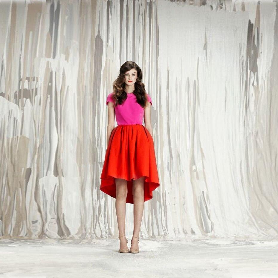 Popular Short Red Skirt and Long Back-Buy Cheap Short Red Skirt ...