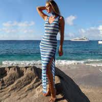 [NODELAY] 2019 New Women Knitting Bikini Cover up Strips Beachwear Pareo Sexy Hollow Out Beach Cover-up Split Long Beach Dress