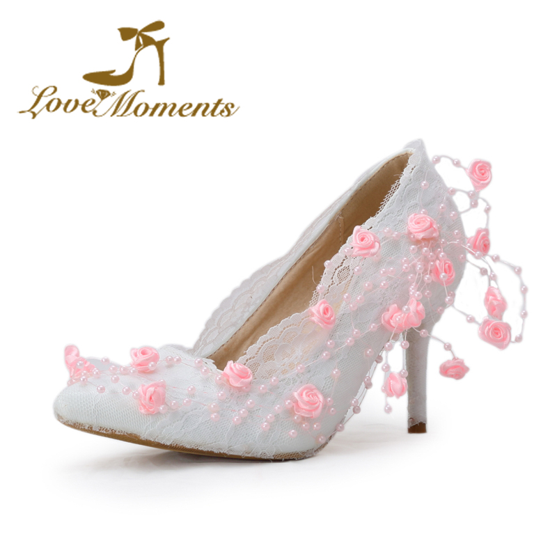 ФОТО Love Moments Thin Heel Women's Shoes  White/ivory/pink  Flowers  Lace wedding shoes pointed-toe bridal High Heels Women Pumps