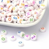 Alphabet Acrylic Beads, Mixed Letters A to Z, Flat Round, White, 7x4mm, Hole: 1.3mm; about 3500pcs/Bag