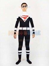 Black & white Superman Costume Spandex Justice Lords Superman Superhero Costume Halloween Cosplay Zentai Suit