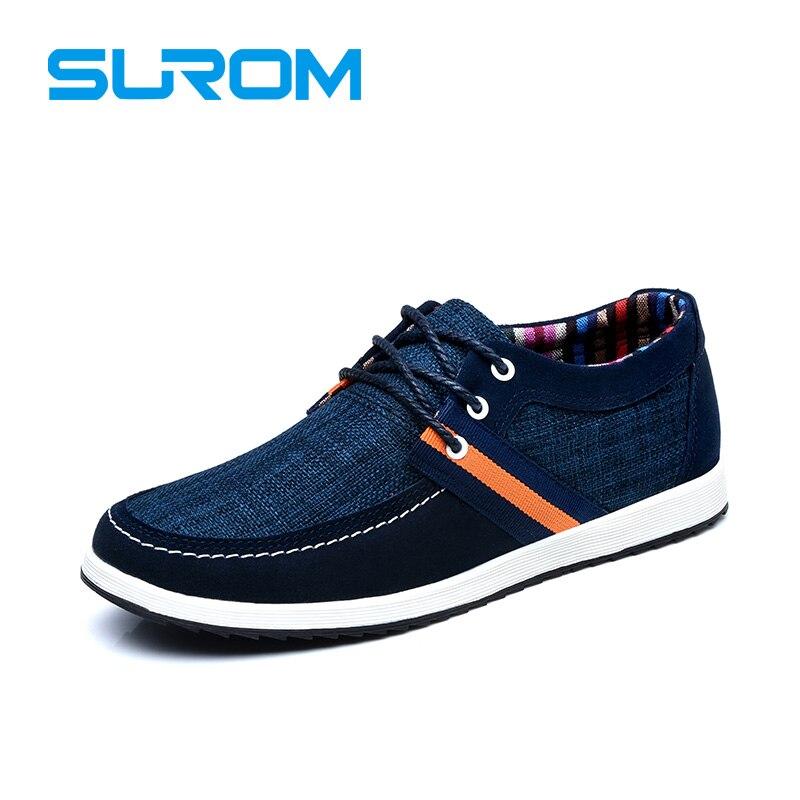 SUROM Zapatos Remiendo de La Manera hombres de la Marca de Lona y Denim Classic