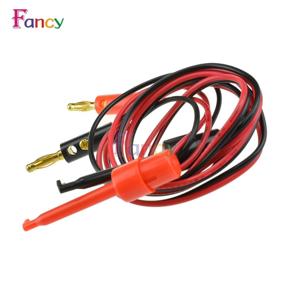 1 Pair Small Test Hook Clip to Banana Plug for Multimeter Test Lead Cable цены