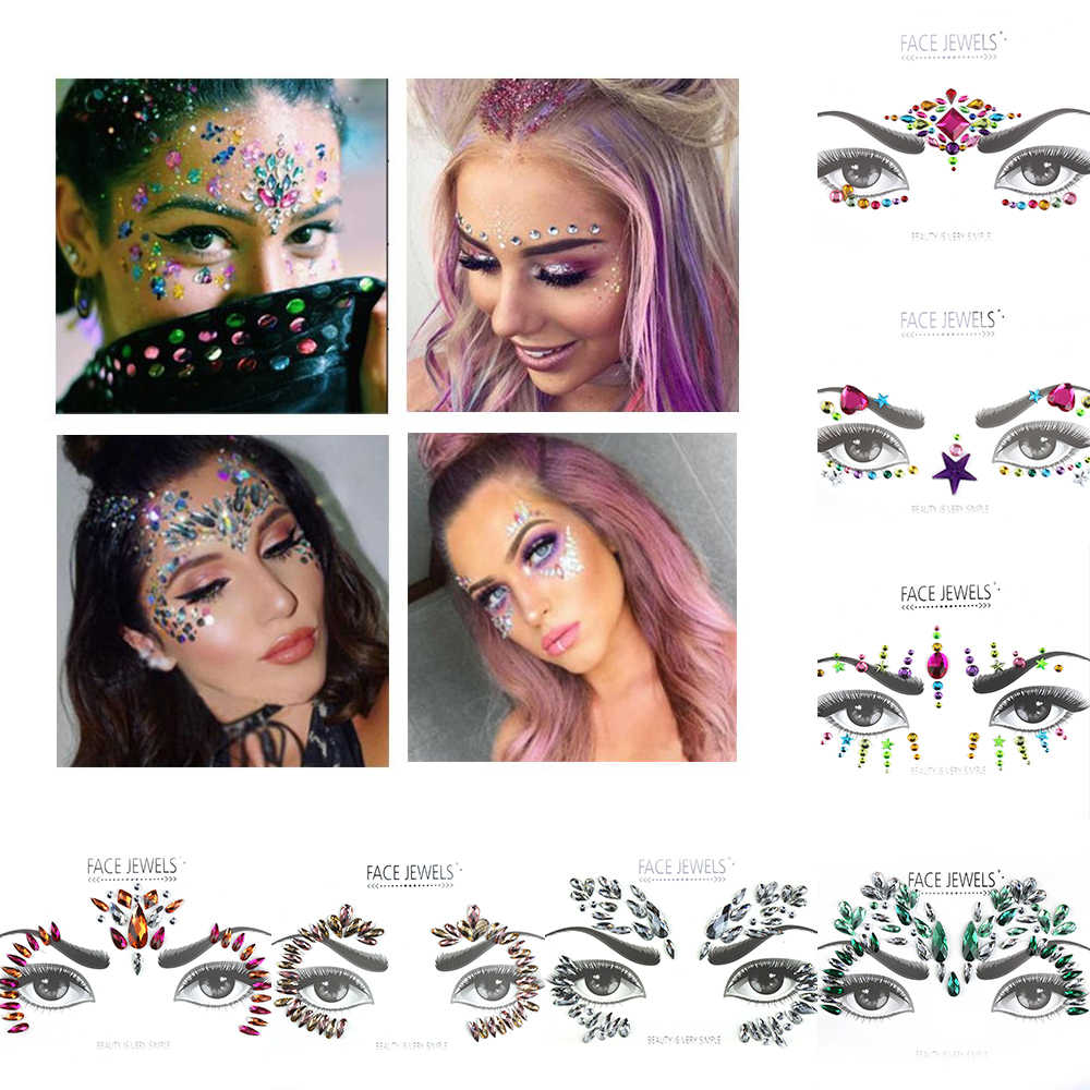 Make Up Adhesive Face Jewels Gems Temporary Tattoo Face Jewels Festival Party Body Art Gems Rhinestone Flash Tattoos Stickers