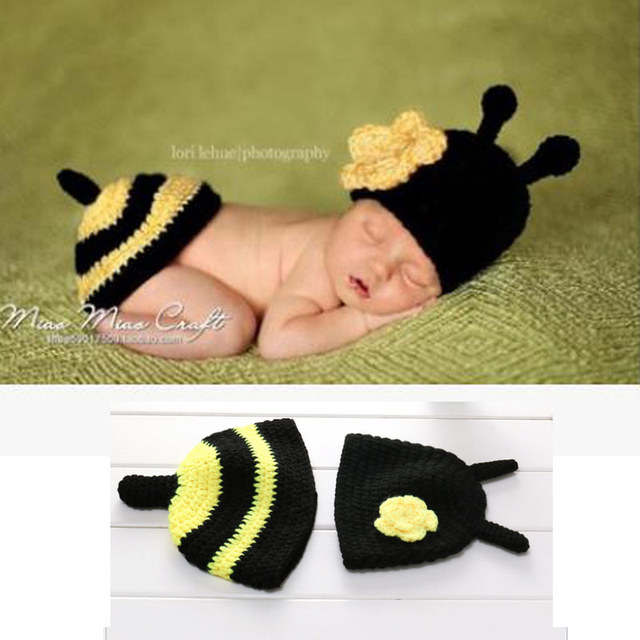 Newborn Baby Photography Props girl Boy Animal Pants Knit Hat Set Cute Baby Hand Made Crochet Costume Photo Shoot Clothes  3