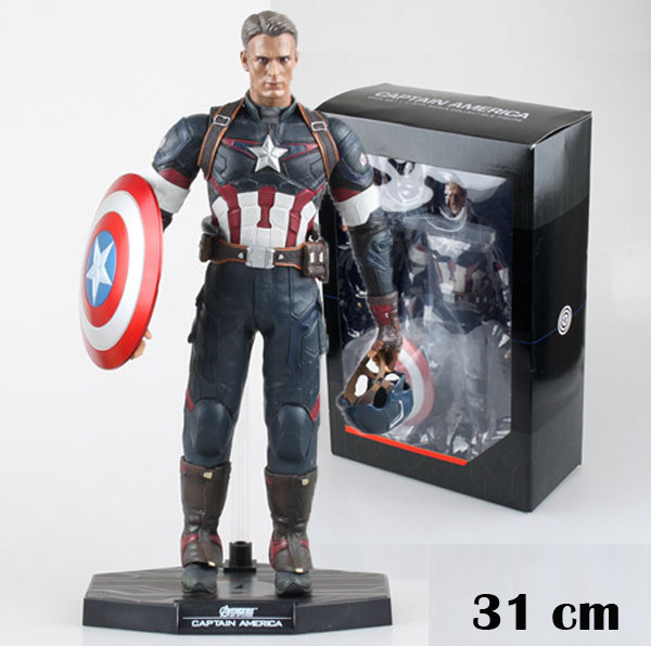 Free Shipping Cool 12 The Avengers 2 Captain America 1/6 Joint movable Boxed 31cm PVC Action Figure Collection Model Toy Gift the avengers 2 captain america 1 6 scale movable pvc action figure collectible model toy doll 32cm hot