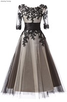 Elegant Tea Length Prom Dress Real Picture A Line Sleeveless Appliques Tulle Evening Party Gowns vestidos de fiesta