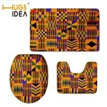 Alfombrilla hugsiera de estilo africano Vintage para decoración del hogar, asiento de inodoro, Set de 3 uds, alfombrillas resistentes al agua y antideslizantes para baño y WC