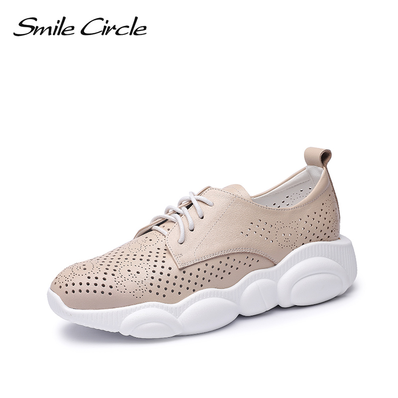 Smile Circle 2019 summer Sneakers women Flat shoes Genuine Leather Breathable Shoes Women fashion Thick bottom