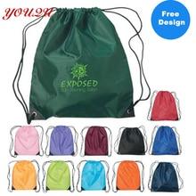 Высокое качество сумки из полиэстера с завязками с логотипом клиента 100 шт./лот