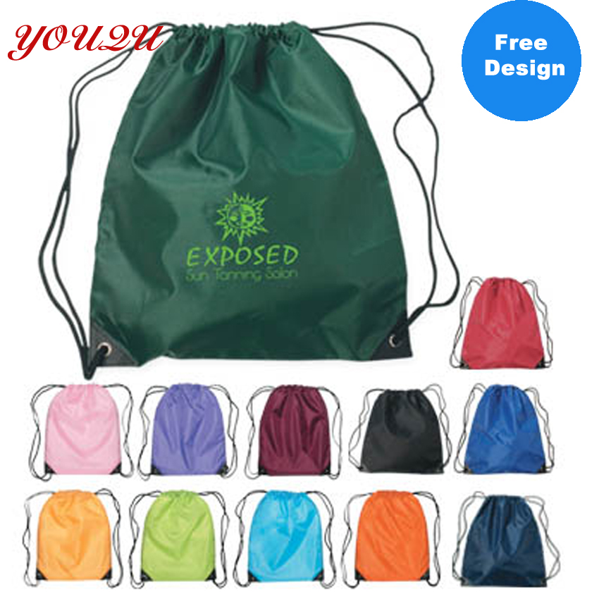 High Quality Polyester Drawstring Bags With Customer Logo 100pcs/lot Free Shipping