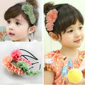 Retail Chiffon Floral children kids baby girls hair accessories hair flower bands headwear  flower Boutique tiara