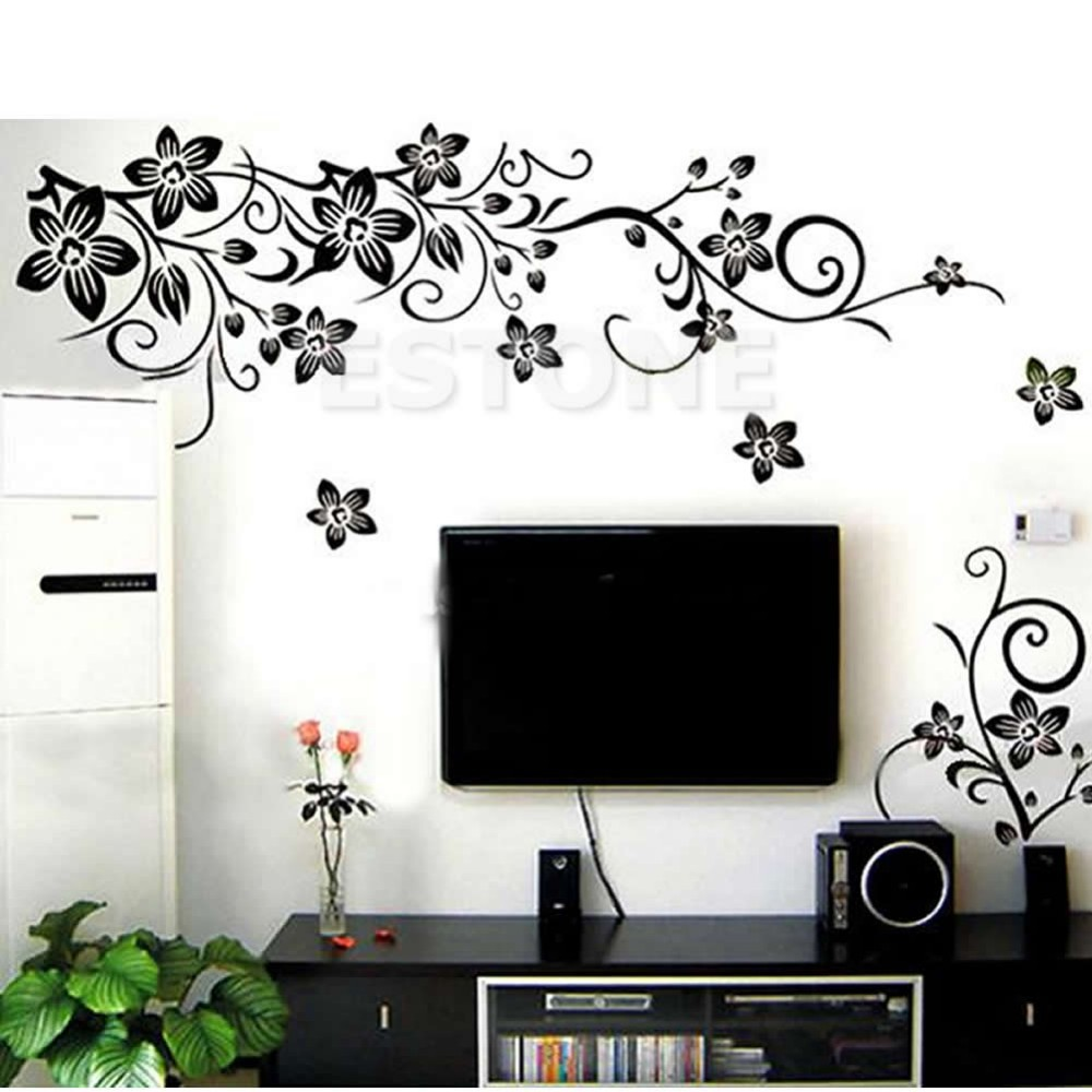 Large 70 x 50 cm excellent black 3d diy flowers removable for Home decor 3d stickers