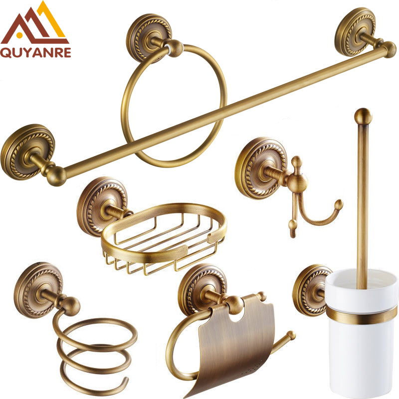 Quyanre Antique Brass Bathroom Hardware Set Antique Brass Accessories Robe hook Paper Holder Towel Bar Towel