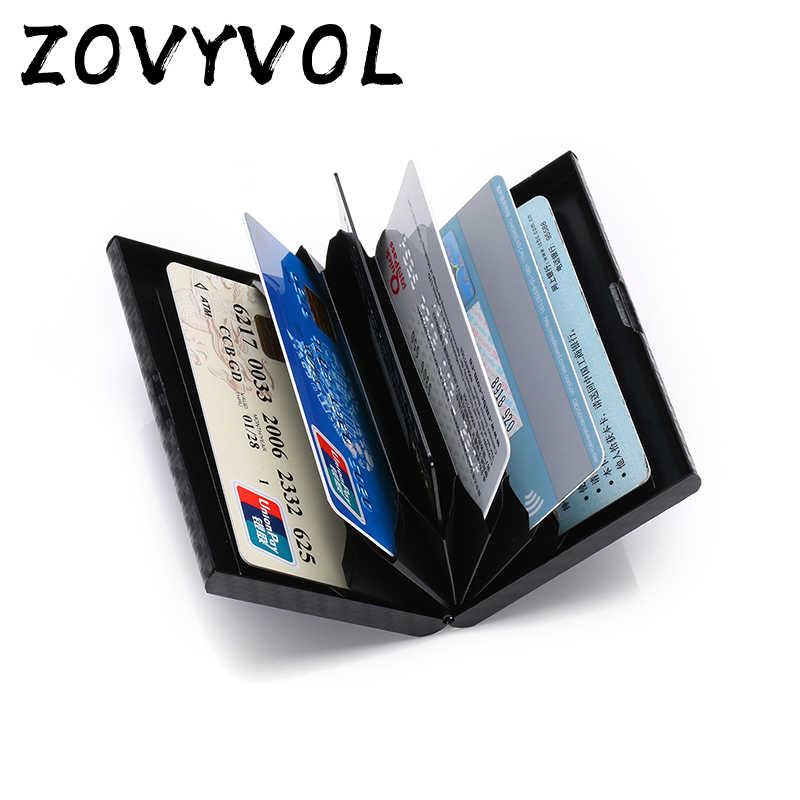 ZOVYVOL RFID Bloqueando Carteira Titular Do Cartão Das Mulheres Dos Homens Magros Única Caixa Inteligente Carteira Preta Fina De Metal De Alumínio Mini Carteira