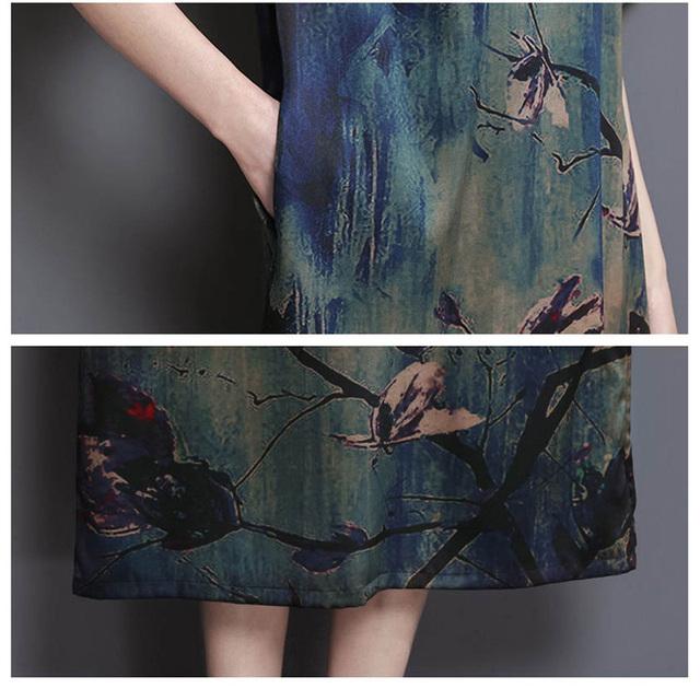2017 New Summer Middle Age High Quality Silk Print Long Dress Vintage Elegant Large Size Loose O-Neck Women Dress YP0137