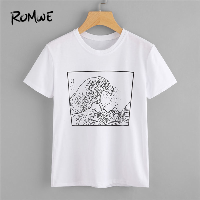 ROMWE 2018 New Arrival Graphic Print Tee Shirt White Casual T-shirt Summer Round Neck Short Sleeve Women Top white back graphic print crew neck short sleeve men s casual t shirt