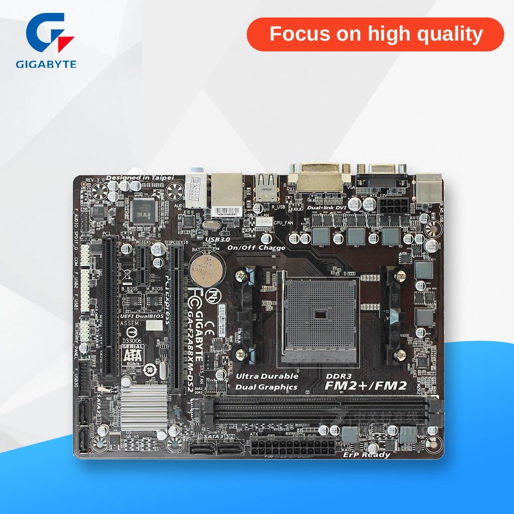 Gigabyte GA-F2A88XM-DS2 Original Used Desktop Motherboard F2A88XM-DS2 A88X Socket FM2 64G DDR3 SATA3 USB3.0 Micro ATX original motherboard for gigabyte ga f2a55m ds2 ddr3 socket fm2 f2a55m ds2 board a55 usb2 0 desktop motherborad free shipping