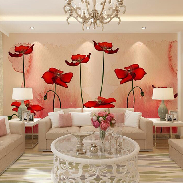 Custom 3D Photo Wallpaper Modern Pastoral Plant Flower Wall Mural Painting  Art Living Room Sofa TV