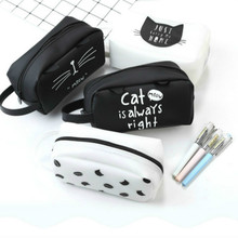 Cute creative jelly silicone pencil bag black & white simple zipper large capacity pencil case fashion cosmetic bag stationery(China)