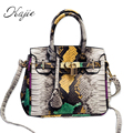 Kajie 2017 Summer Women Snake Leather Handbags Fashion Serpentine Crossbody Lock Shoulder Messenger Bag Ladies Casual Totes