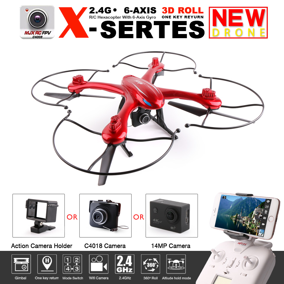 Original MJX X102H FPV RC Quadcopter Drone With Camera 2.4G 6-Axis Altitude Hold One Key Land Fit 4K/1080P Camera RC Helicopter jjr c jjrc h43wh h43 selfie elfie wifi fpv with hd camera altitude hold headless mode foldable arm rc quadcopter drone h37 mini