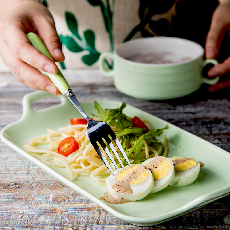 Ceramic Bowl Dish Spoon Fork Cutlery Set Bestek Tableware Set With Two Handle Dinnerware Western Dessert Plate Food Serving Tray