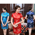 New Black Red Chinese Traditional Dress Women's Silk Cheongsam Sexy Qipao Flower Plus Size S M L XL XXL XXXL 4XL 5XL 6XL 011503