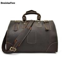 Genuine Leather Duffel Bags Men's Luggage Travel Shoulder Bags Vintage Tote Laptop Handbags dark lfb03