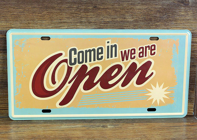 COME IN WE ARE OPEN Vintage License Plate Retro Art Wall decor House ...