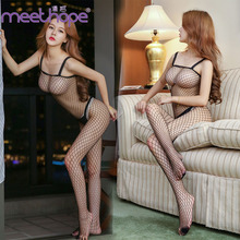 Erotic Sexy underwear sexy open file ladies jumpsuit network uniform transparent temptation Siamese stockings