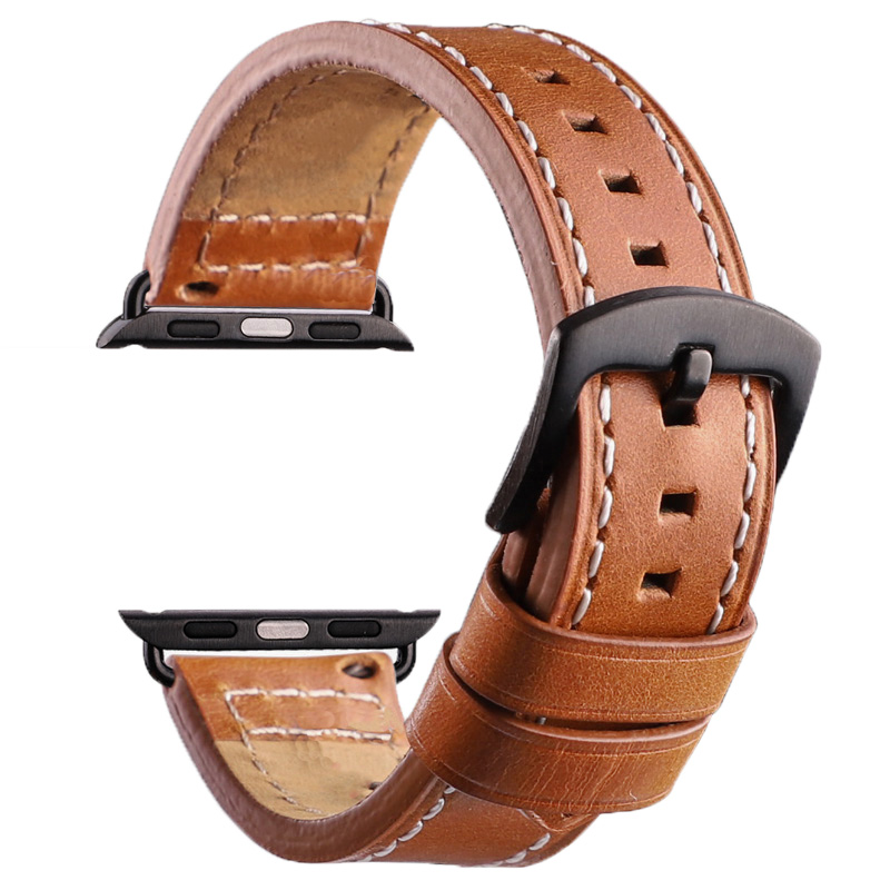 Genuine Leather Apple Watch Band 38mm 42mm Series 1 2 3 4 Colorful Iwatch Bracelet Wrist Strap Watchband 4 Colors