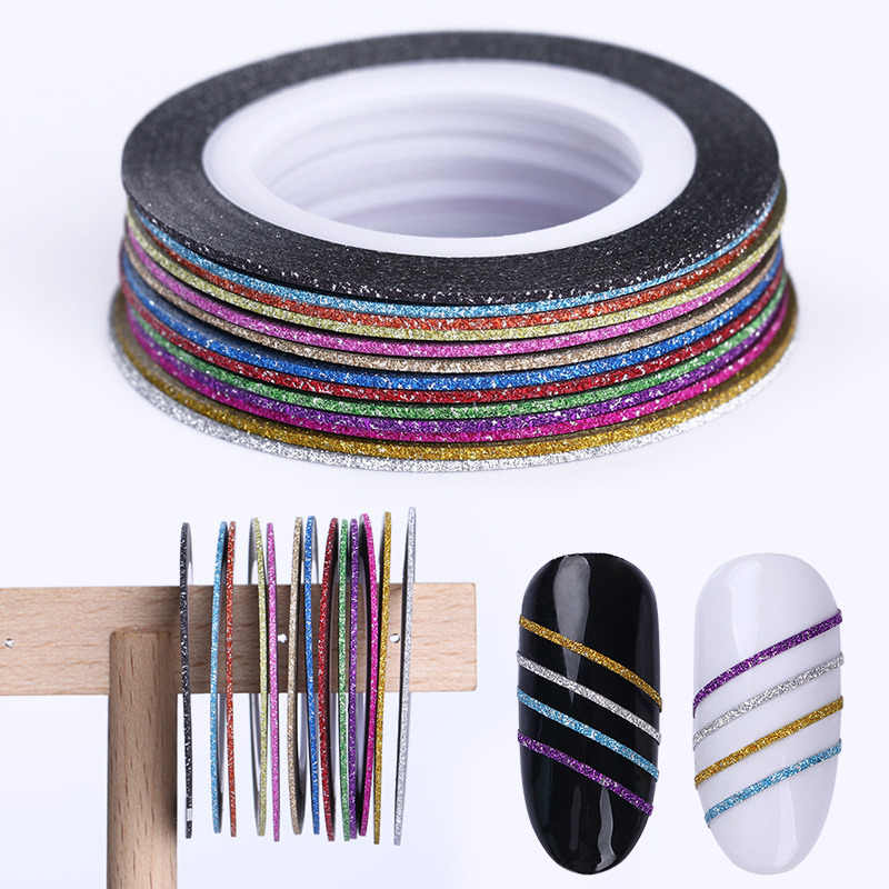 13 Rolls 1mm 2mm 3mm Matte Glitter 3D Nail Sticker Adhesive Striping Tape Line Set Tips Decal Nail Art DIY Styling Tool