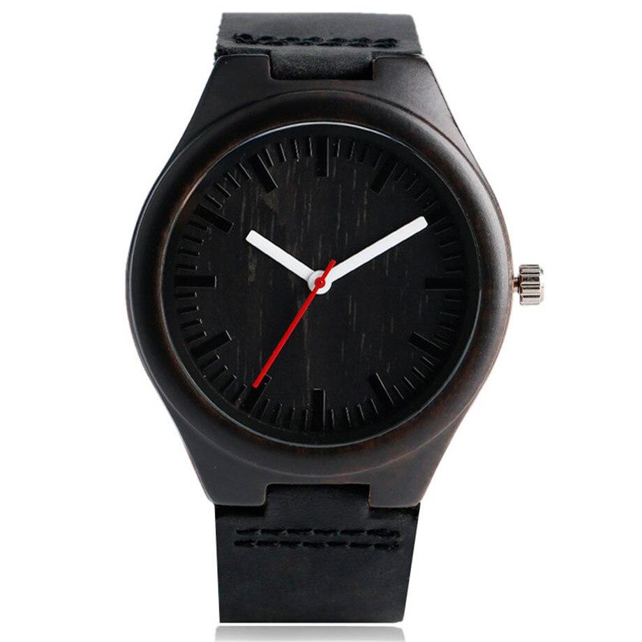 Simple Men Women Black Wooden Watch Minimalist Analog Walnut Wood Quartz Wristwatch Concise Male Female Business Fashion Watch цены онлайн