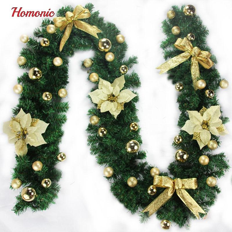 2.7m Christmas garland Pine Tree green rattan PVC Christmas decoration supplies for Christmas ...