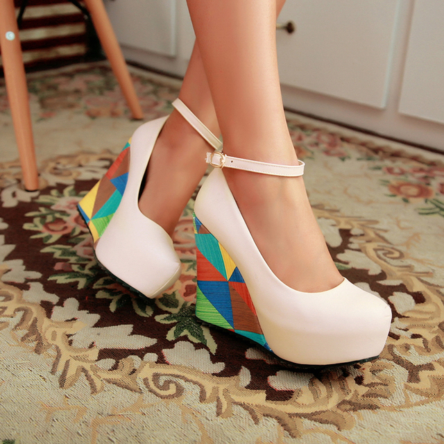 44cb334f420 Plus Size 33-43 Womens Wedge Heels Sexy High Heel Platform Ankle Straps  Mixed Color Round Toe Pumps Shoes US Size 3--10.5 D356
