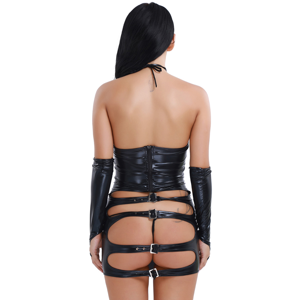 Sexy Exotic Womens Sexy Shiny Patent Leather Halter Fetish Open Butt Dress G-string Gloves Women Lingerie Sets for Womens Cloth