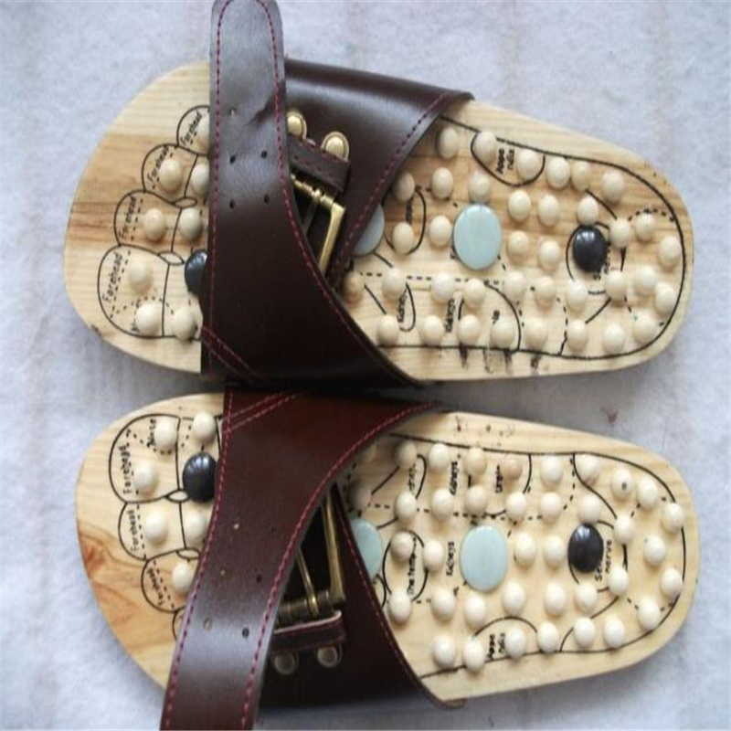 Foot massage shoes drag jade point wooden massage slippers feet pain relief relaxation health summer slippers