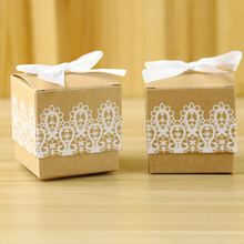50pcs Laser Cut Lace bow kraft paper DIY Gift Candy Boxes Favor Sweet Bag & Ribbon for Wedding Birthday Party Decoration