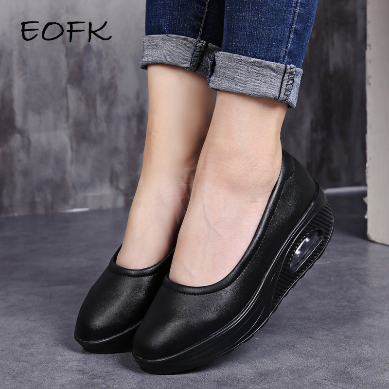 EOFK Women Leather Flat Platform Shoes Woman Swing Shoes Women s Loafers Slip On Shallow Ladies