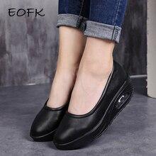 EOFK/женская кожаная обувь на плоской платформе; женская обувь для танцев; женские лоферы без шнуровки; женская повседневная обувь на плоской подошве; mocasines mujer