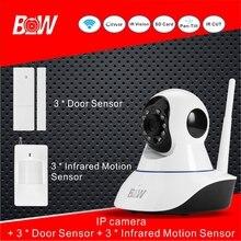 Mini cámara ip + 3 sensor de puerta 3 infrarrojos motion Sensor de Alarma P2P Cámara de Seguridad Sistema de Cámara de Vigilancia de Vídeo Wifi BW02S
